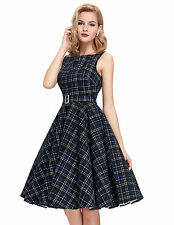 Womens Vintage Girls Casual Swing Pin Up Dresses Formal Pageant Housewife Party
