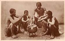 South Africa Mealie Pap, Zulus at Mealtime, Food, Cauldron Cooking real photo