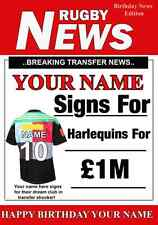 A5 Personalised Harlequins FAN Greeting Birthday Card any name Rugby PID174