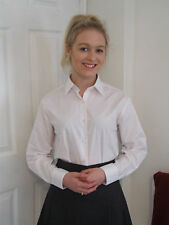 Ladies/Girls Size 42in Long Sleeve School Uniform Blouse Tie Collar White