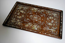 Exotic wood opium tray with mother of pearl