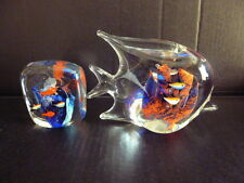 MURANO ART GLASS FISH AQUARIUM & FISH FIGURINE AQUARIUM SET