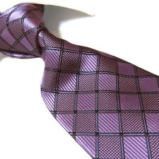 Extra Long Polyester Woven Tie,Microfibre Purple Check XL Necktie PL244 63""