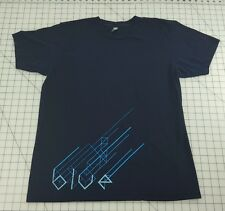 "American Apparel ""BLUE"" Geometric Graphic T Men's L Cotton Tee Shirts"