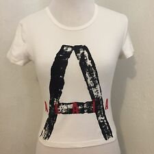 Rare Vintage Alaia X Comme Des Garcons White Logo Stretch Cotton Tee XS
