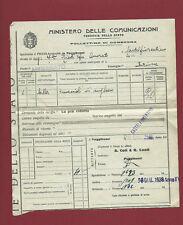 Bollettino di Consegna da Poggibonsi a Castelfiorentino Ferrovie Stato 1938
