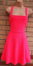 H&M QUILTED STRIPE NEON PINK SKATER A LINE FLIPPY FLARE PARTY EVENING DRESS S
