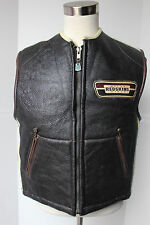 VTG Redskins Sheepskin Leather Vest Brown Shearling XL Motorcycle