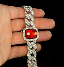 ICY Miami Cuban Link Bracelet Silver Tone Red Ruby Simulate CZ Bling HipHop Mens
