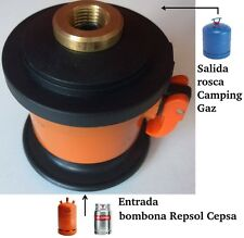 ADAPTADOR DE GAS PARA BOMBONA BUTANO REPSOL-CAMPSA A CAMPING GAZ(azul regulador)