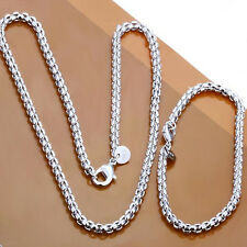Fashion 925Sterling Silver Round Grid Unisex Necklace Bracelet Set ZS058