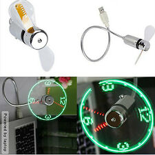 MINI flessibile a collo d'oca Orologio a LED USB VENTOLA PER PC NOTEBOOK Time Display Cool CU