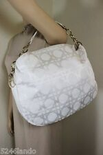 Vintage Christian Dior White Canvas Cannage Large Hobo Shoulder Hand Bag Italy