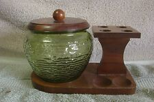 vintage pipe rack with green glass humidor