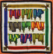 "Hermes Multi-Colour Surcingle 'Harness Belts' Pochette Silk 16.75"" Sq"