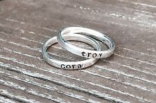 Name Ring Stacking Rings Personalized Sterling Silver Hand Stamped Thin Band 3mm
