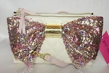 NEW! NWT Betsey Johnson Double Zip Blush Pink Sequin Bow Organizer Crossbody Bag