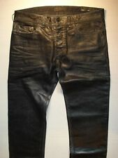 "DIESEL BLACK GOLD LEATHER LOOK MENS BLACK JEANS, BRAND NEW, W 31"" RRP £310"