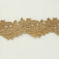 Leaf Metallic Embroidered Venise Lace Trim #294 - Bridal Wedding Dress Belts