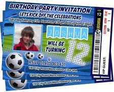 BIRTHDAY PARTY INVITATIONS Football Theme Personalised Ticket Style Sky Blue