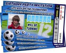 Festa di Compleanno Inviti tema calcio ticket Personalizzata Stile Blu Cielo