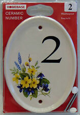 White Heavy Ceramic Number Bridge Weather Proof House Number 2 Sign Home Plaque