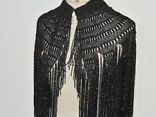 Victorian B Altman & Co Black Macrame Capelet /Collar w Beaded Fringe O/S