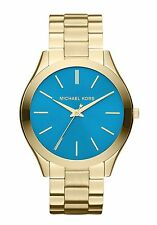 Michael Kors Slim Runway Watch Goldtone Blue Dial MK3265 Women Watch/New No Box