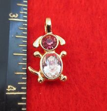 14KT GOLD EP DOG PET OCTOBER ROSE CRYSTAL BIRTHSTONE PENDANT CHARM