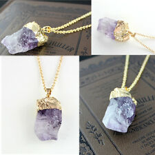 Light Purple Natural Crystal Quartz Stone Gemstone Pendant Women's Necklace 1PCS