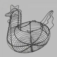 SHABBY CHIC METAL WIRE CHICKEN HEN SHAPED EGG BASKET HOLDER - NEW