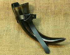 Horn Trinkhorn klein 200ml mit Halter Leder Rinderhorn poliert  Wikinger