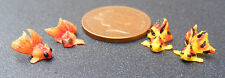 1:12 Scale 4 Chinese Goldfish For A Dolls House Miniature Garden Pond Accessory