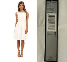 TAHARI ASL $148 NEW White Textured Beaded Fit & Flare Cocktail Dress 14 QCO