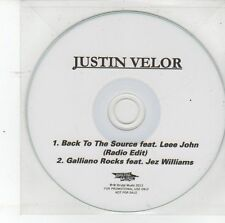 (DS835) Justin Velor, Back to the Source / Galliano Rocks - 2013 DJ CD