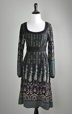 ARYEH Stretch Knit Paisley Printed Bow Tie Back Scoop Sweater Dress Size Large