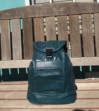 Handmade Teal Blue 100% Leather Backpack Purse with Front Zipper Pocket