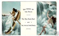 POSTCARD CANADIAN SPIRIT OF THE FALLS INDIAN AND MAID OF THE MIST WATERFALLS