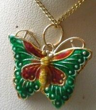 collier pendentif couleur or papillon émail cloisonné vert 4949