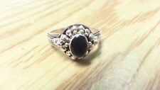 Beautiful Oval Black Onyx Balls Flower Ring Real Sterling Silver *Size 6*F365
