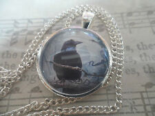 Halloween Raven Glass Image Necklace, 25mm Cabochon Pendant, Altered Art