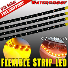 4X Car Motors Truck Flexible Strip Light Amber Yellow Waterproof 120CM 2835 SMD