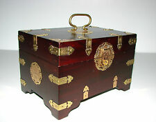 Oriental Chinese Jewellery/Sewing Box with Engraved Brass Hardware
