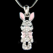 w Swarovski Crystal Rabbit Easter Bunny Hase Pink Bow Charm Necklace Jewelry New