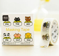 Animals Week Style Paper Sticky Lable Sticker Decorative Masking Washi Tape