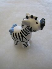 Fisher Price Little People ZEBRA w/ BLUE BOW for NOAH'S ARK ZOO JUNGLE Cute!