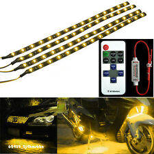 Wireless Remote + 4x 30CM Yellow Motorcycle 15 LED Light Strip Flexible For BMW