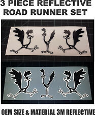 3 Reflective Road Runner Black and White Vinyl Decals