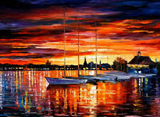 Helsinki, Sailboats At Yacht Club —  Oil Painting On Canvas By Leonid Afremov.