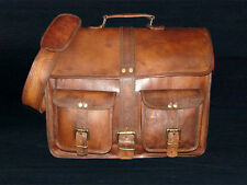 vintage goat leather messenger Real satchel bag genuine laptop brown briefcase